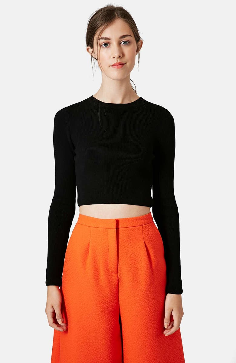 TOPSHOP Ribbed Crop Sweater, Main, color, 001