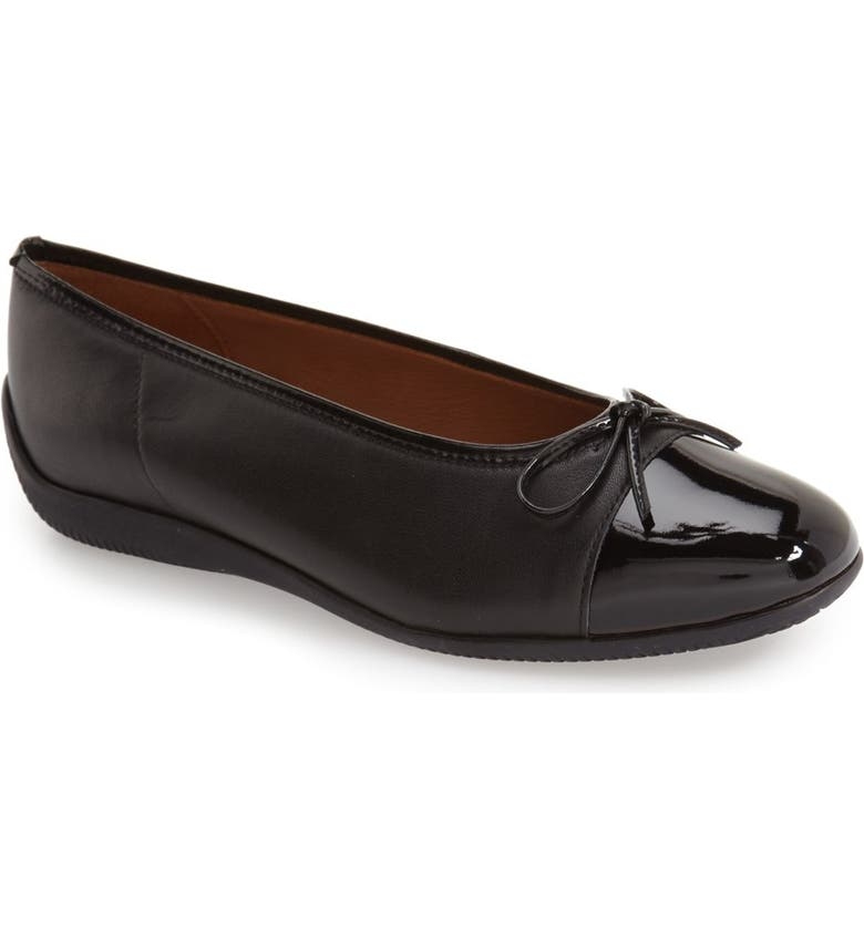 ARA 'Bella' Flat, Main, color, BLACK LEATHER