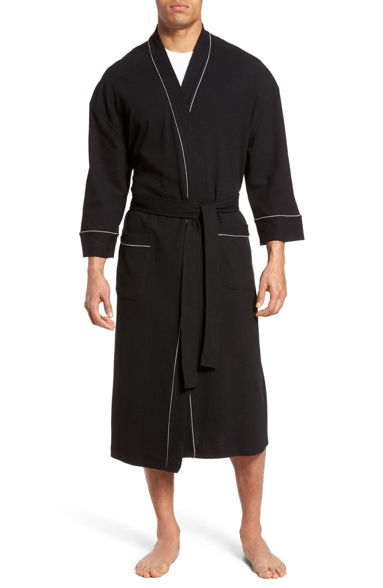 MAJESTIC INTERNATIONAL Waffle Knit Robe, Main, color, BLACK