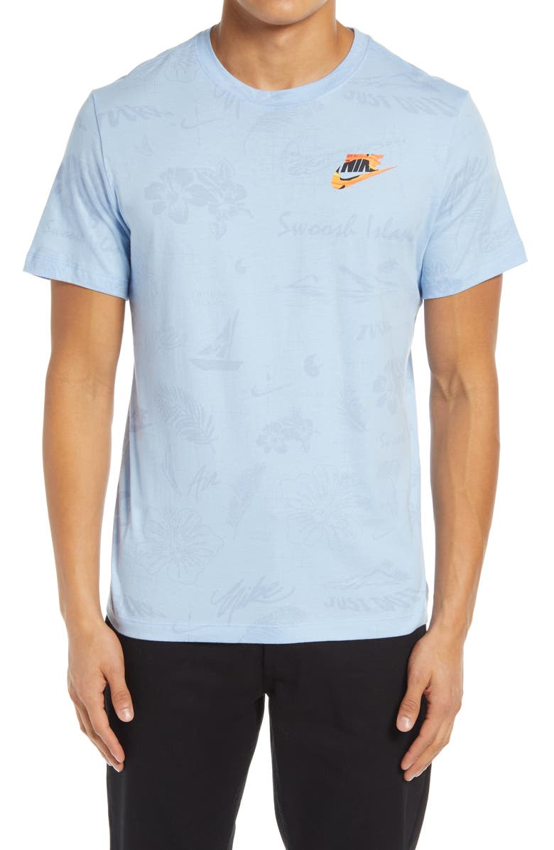 NIKE Sportswear Spring Break Floral Graphic Tee, Main, color, PSYCHIC BLUE