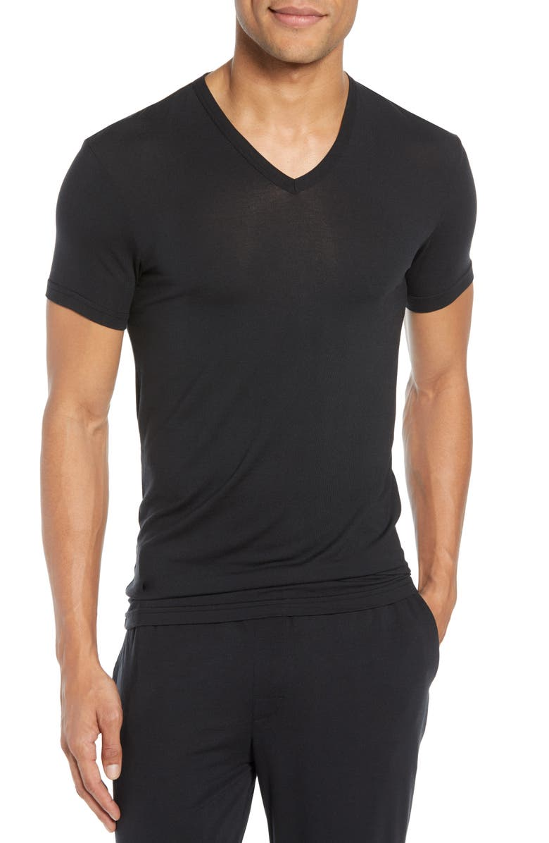 CALVIN KLEIN Ultrasoft Stretch Modal V-Neck T-Shirt, Main, color, BLACK