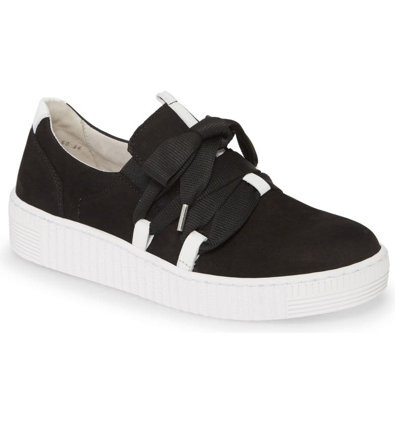 GABOR Fashion Lace-Up Sneaker, Main, color, BLACK/ WHITE SUEDE