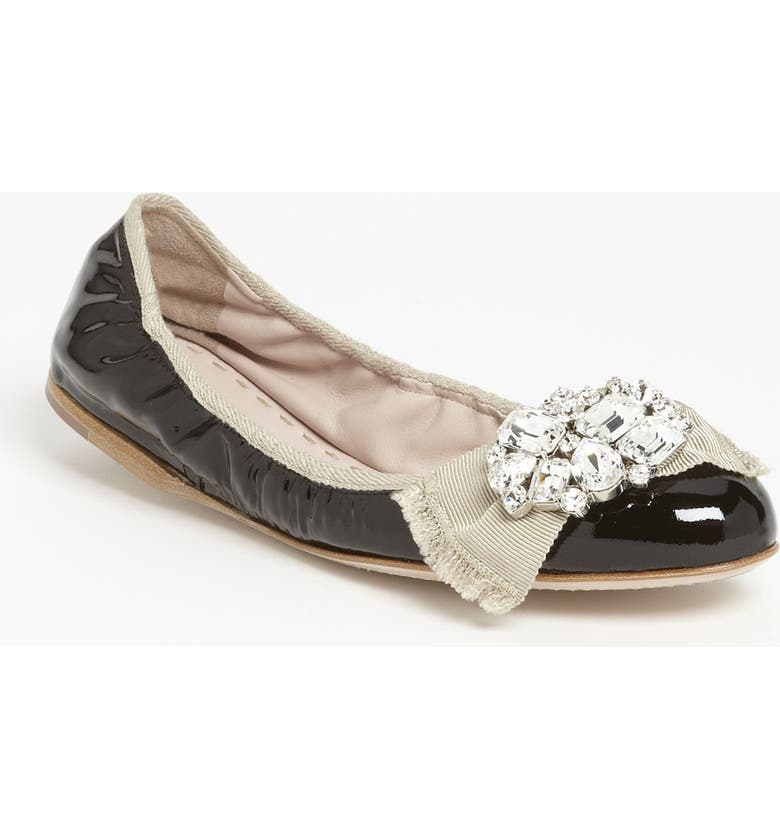 MIU MIU 'Crystal Bow' Ballerina Flat, Main, color, 001