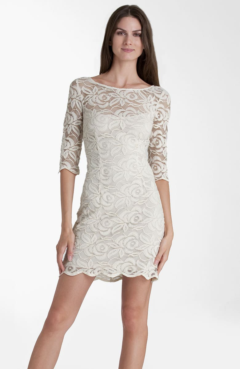 JS COLLECTIONS Boatneck Lace Overlay Sheath Dress, Main, color, NATURAL