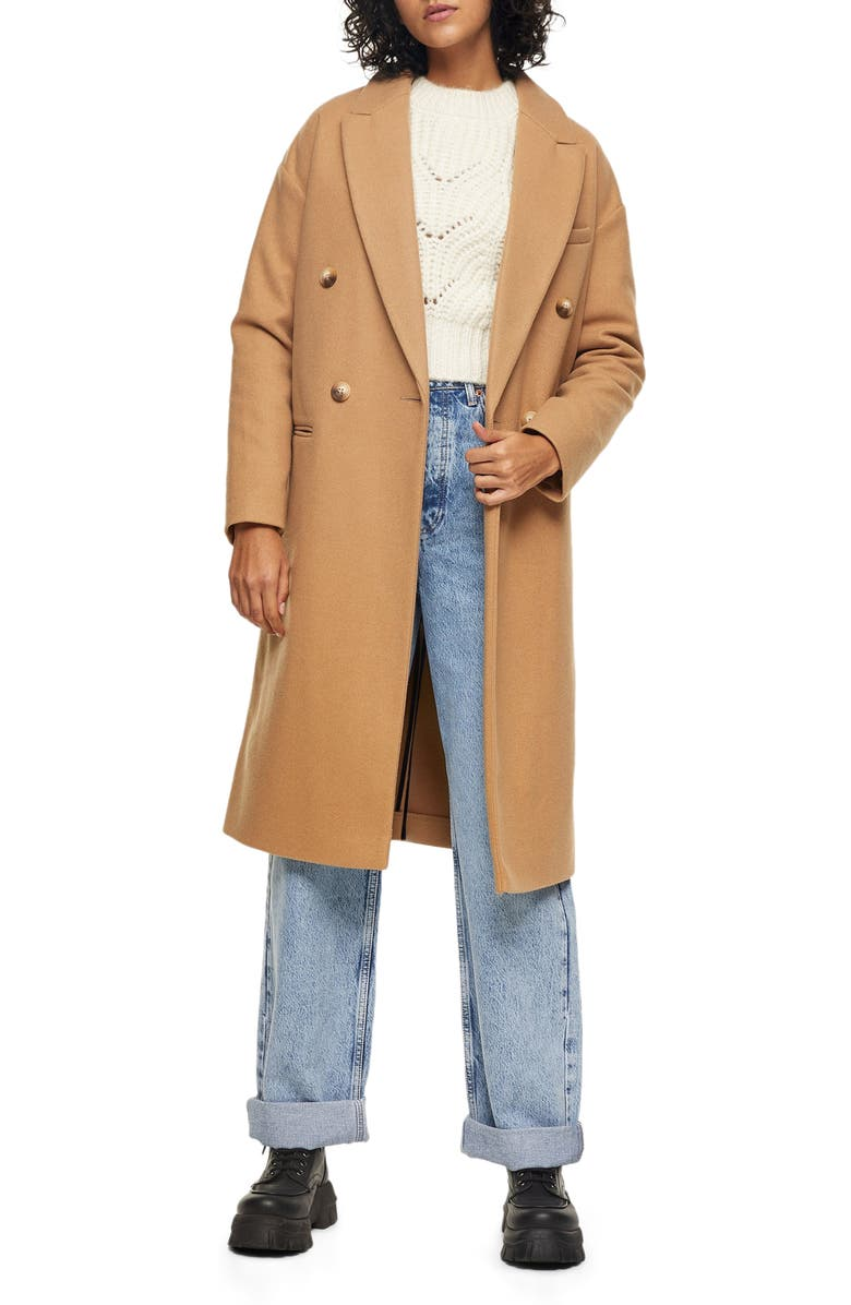 TOPSHOP Brooke Double Breasted Long Coat, Main, color, CAMEL
