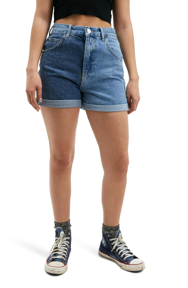 BDG URBAN OUTFITTERS Two-Tone High Waist Roll Cuff Denim Shorts, Main, color, MID BLUE