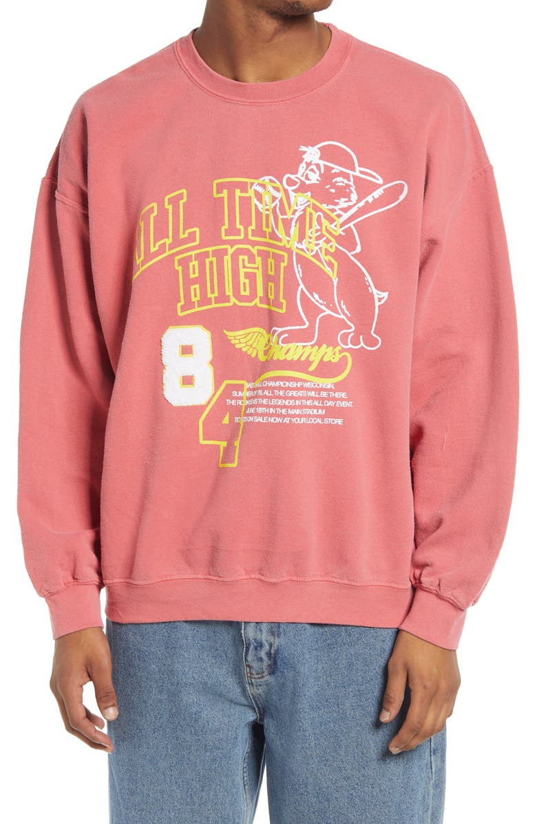 BDG URBAN OUTFITTERS All Time High Sweatshirt, Main, color, RED
