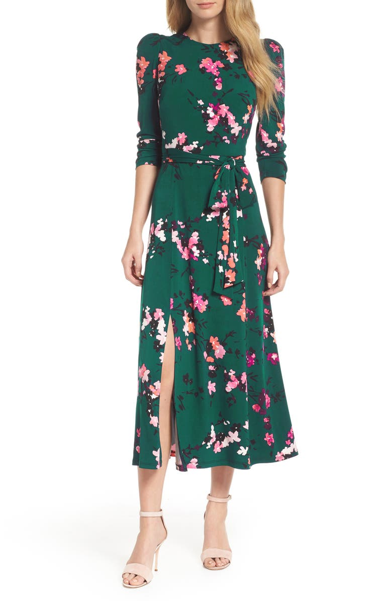 ELIZA J Floral Print Midi Dress, Main, color, GREEN