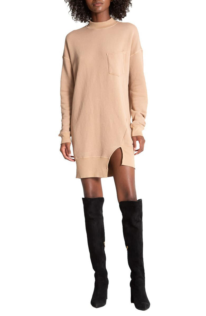 N:PHILANTHROPY Pari Mock Neck Long Sleeve Minidress, Main, color, CAMEL