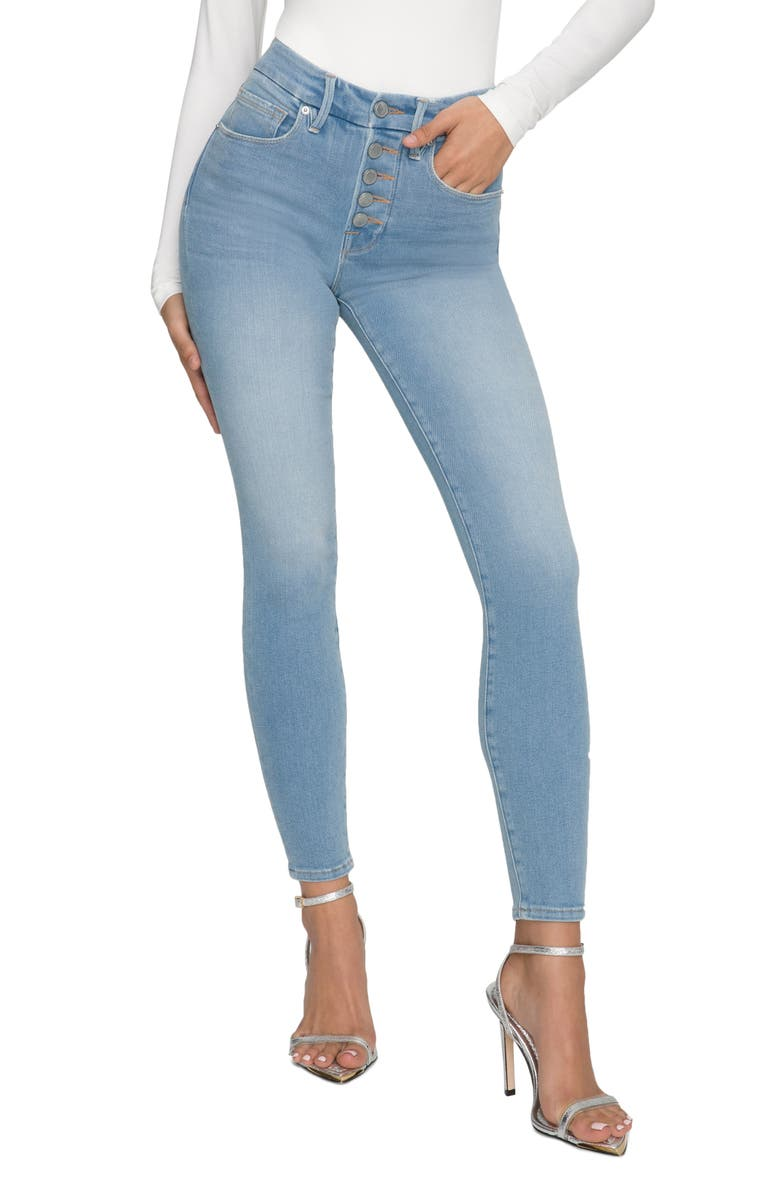 GOOD AMERICAN Good Legs Button Fly Ankle Skinny Jeans, Main, color, BLUE613
