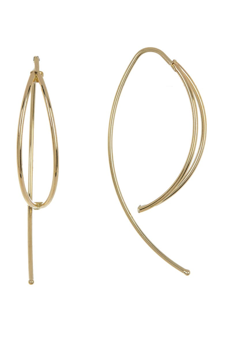 CANDELA JEWELRY 14K Gold Marquis Shaped Dangle Earrings, Main, color, GOLD
