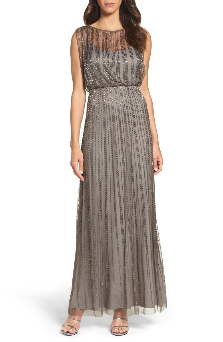 ADRIANNA PAPELL Beaded Mesh Blouson Gown, Main, color, 024