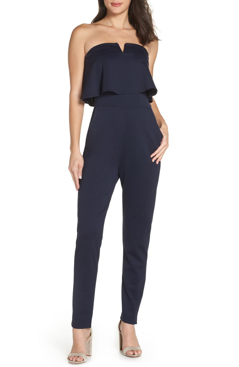 FRAICHE BY J Strapless Jumpsuit, Main, color, NAVY