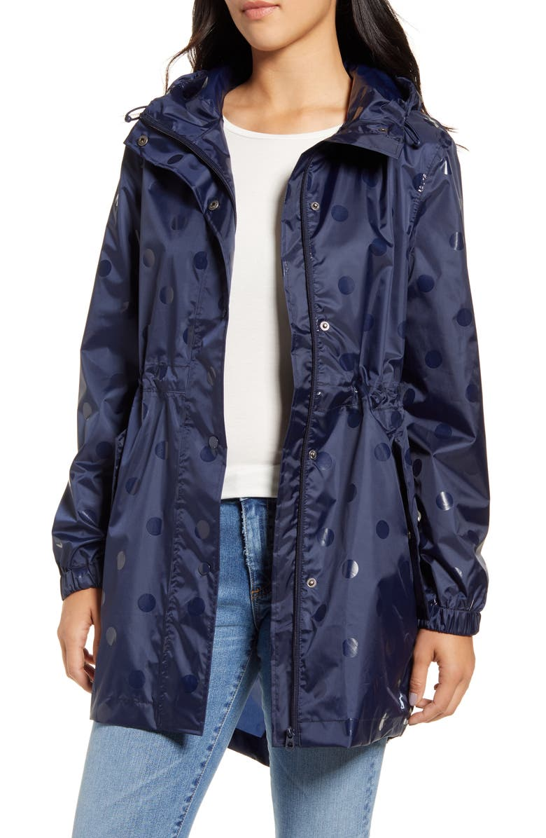 JOULES Right As Rain Golightly Packable Waterproof Hooded Jacket, Main, color, GLOSS SPOT