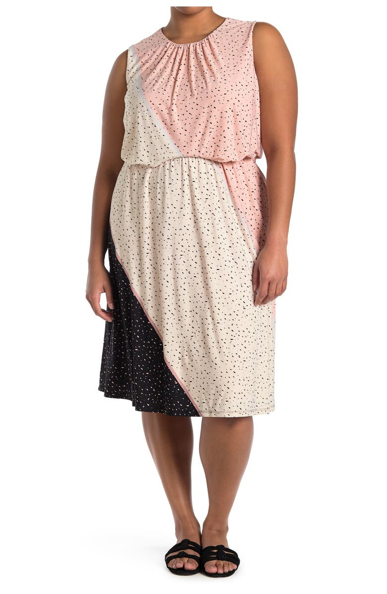 LONDON TIMES Textured Speckle Jersey Dress, Main, color, CREAM PEACH