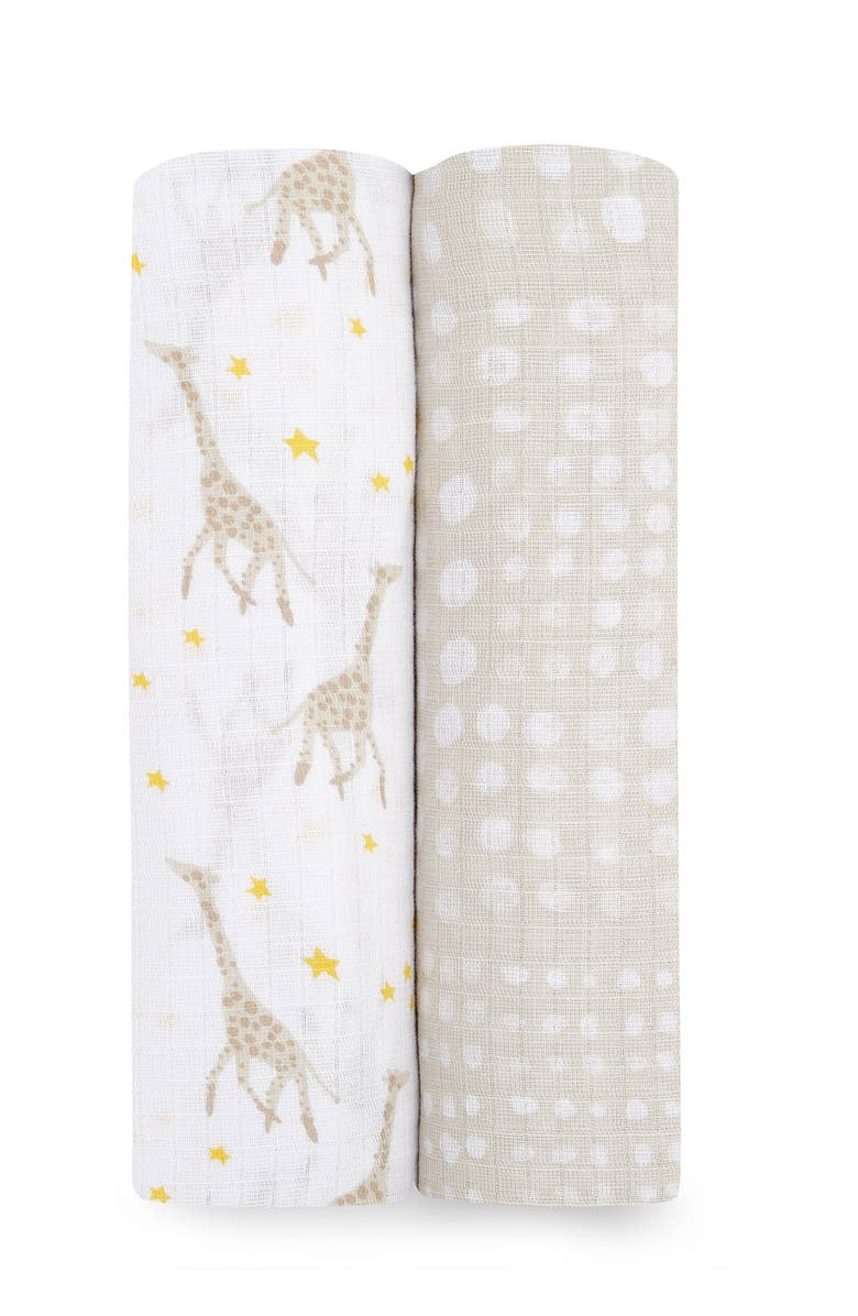 ADEN AND ANAIS ESSENTIALS Starry Swaddles - Pack of 2, Main, color, TAUPE