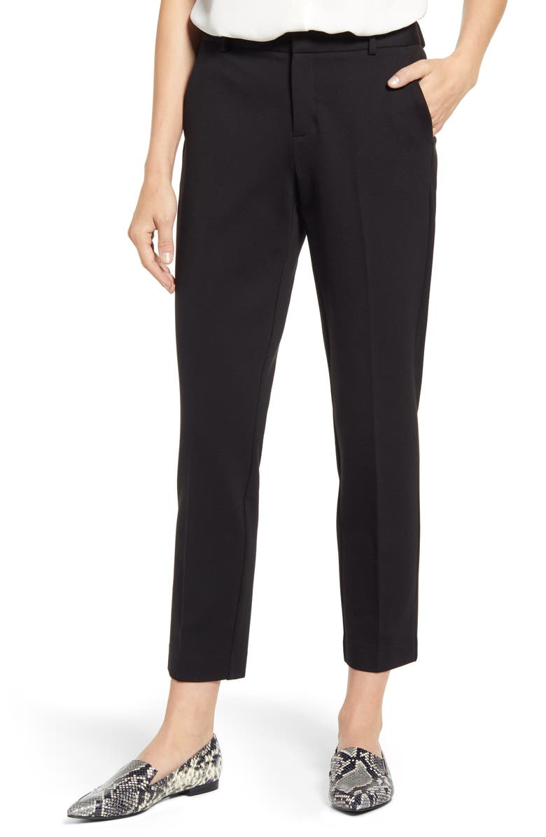 VINCE CAMUTO Slim Leg Tech Ponte Ankle Pants, Main, color, RICH BLACK