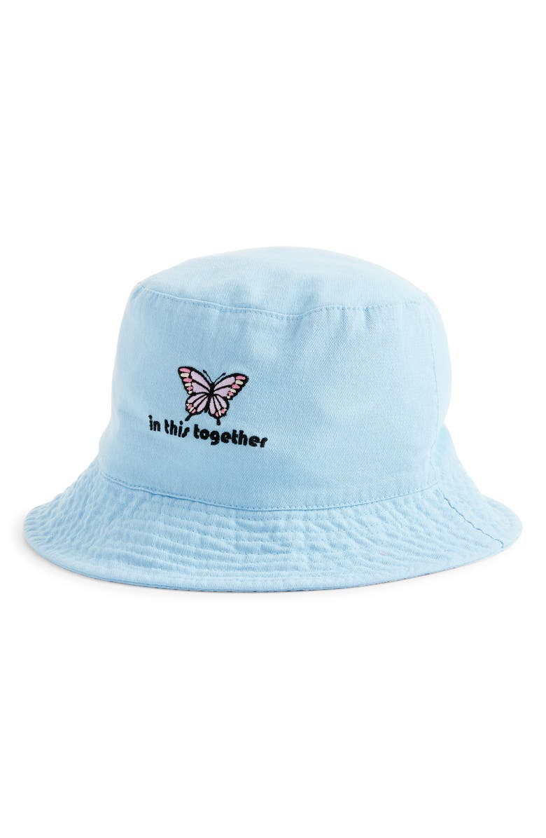 BP. In This Together Embroidered Cotton Bucket Hat, Main, color, LIGHT BLUE