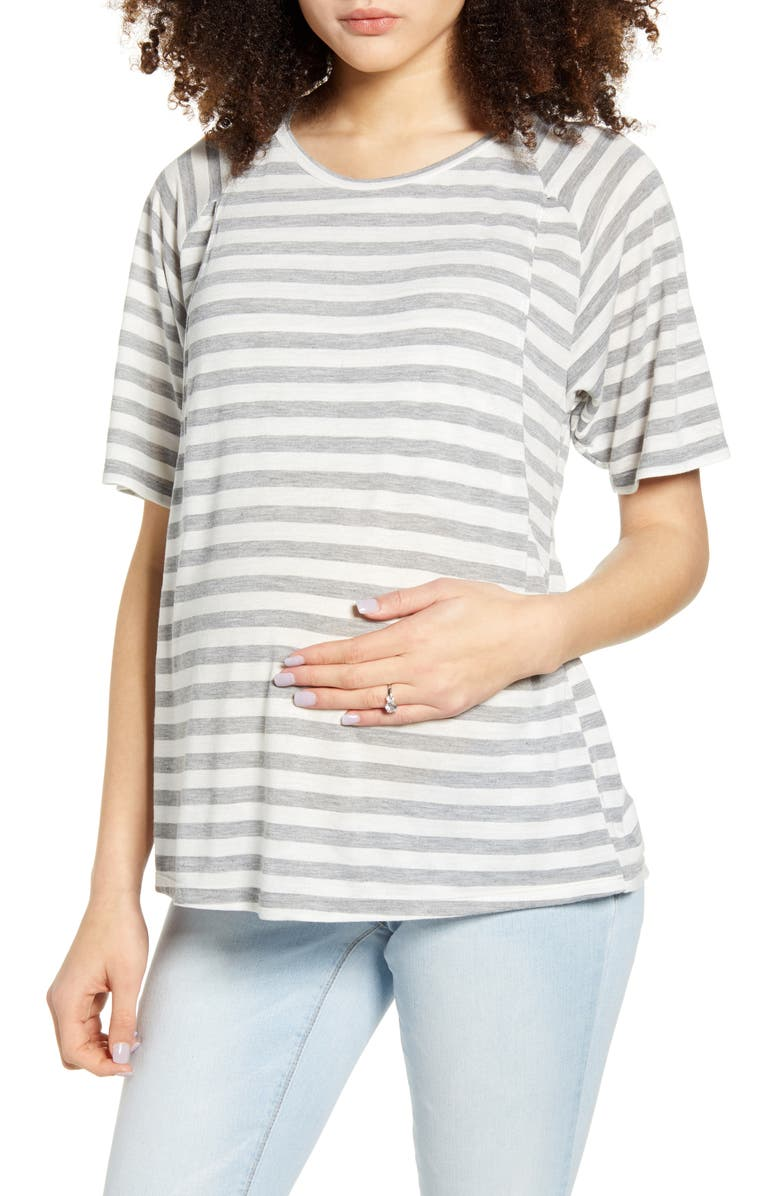 BUN MATERNITY Smooth Relax Maternity/Nursing Tee, Main, color, GREY AND WHITE STRIPE