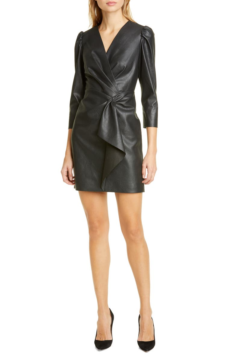 REBECCA TAYLOR Faux Leather Dress, Main, color, 001