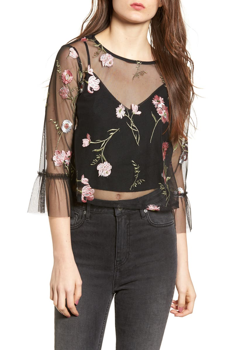 TEN SIXTY SHERMAN Embroidered Mesh Top, Main, color, Black