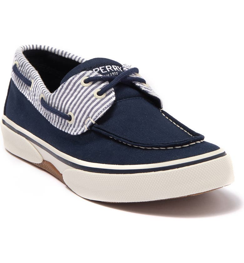 SPERRY Halyard 2-Eye Boat Shoe, Main, color, NAVY
