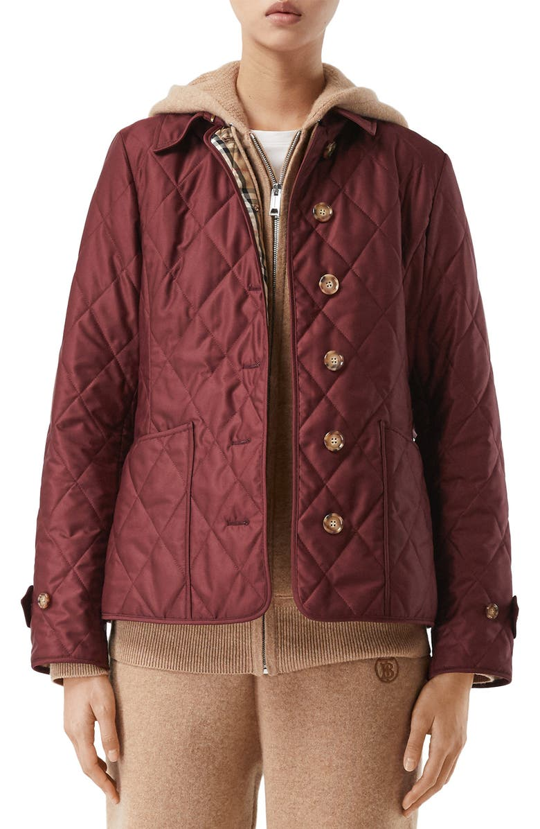 BURBERRY Fernleigh Thermoregulated Diamond Quilted Jacket, Main, color, DEEP CLARET