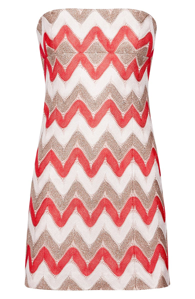 MISSONI Metallic Chevron Knit Dress, Main, color, RED WHITE