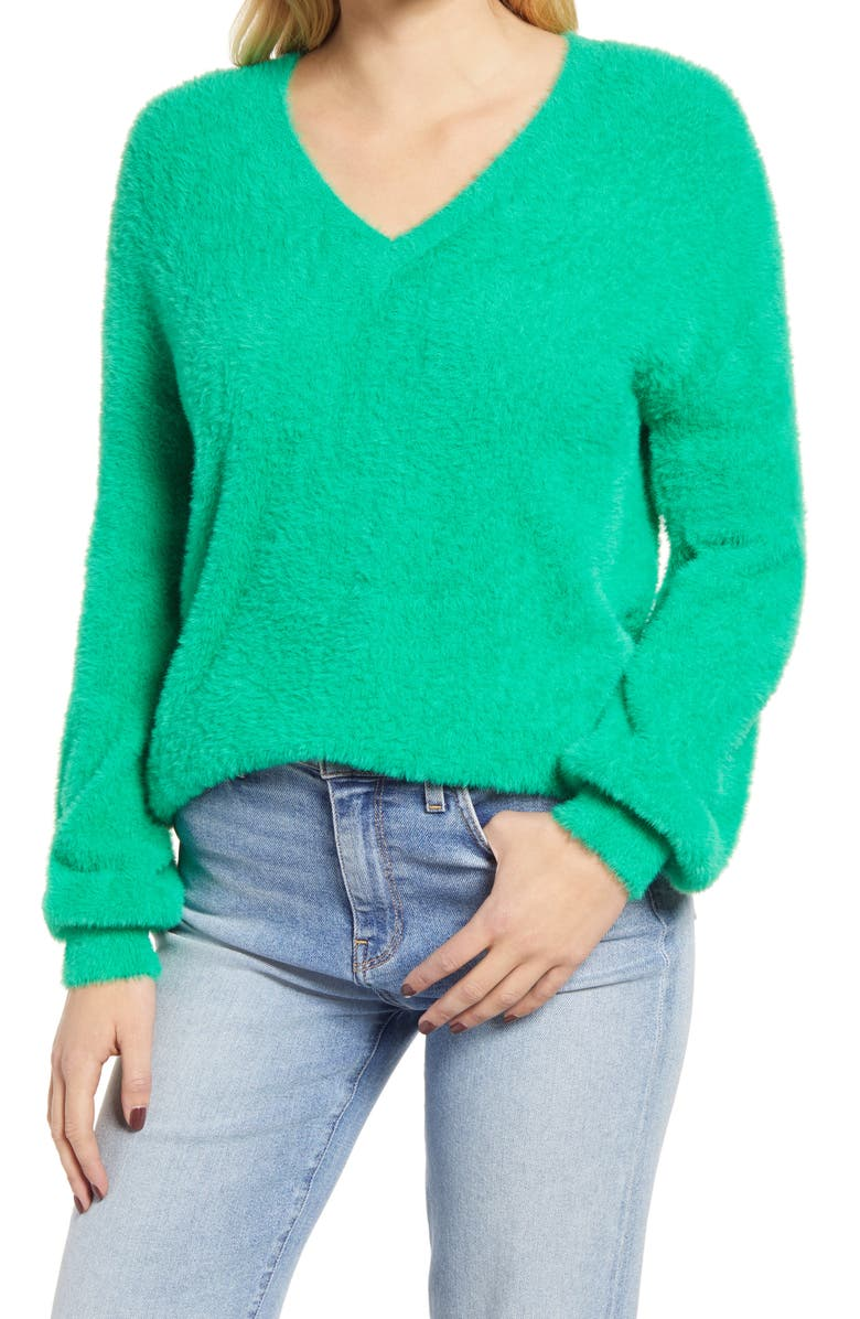 HALOGEN<SUP>®</SUP> Fuzzy V-Neck Sweater, Main, color, GREEN BRIGHT