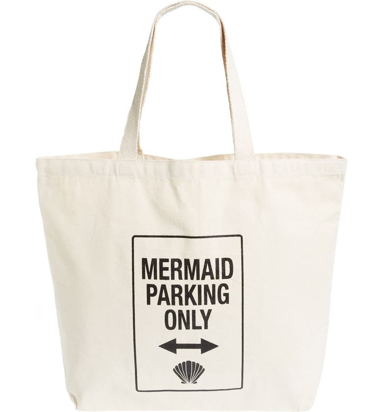WORKSHOP 28 'Mermaid Parking Only' Canvas Tote, Main, color, 250
