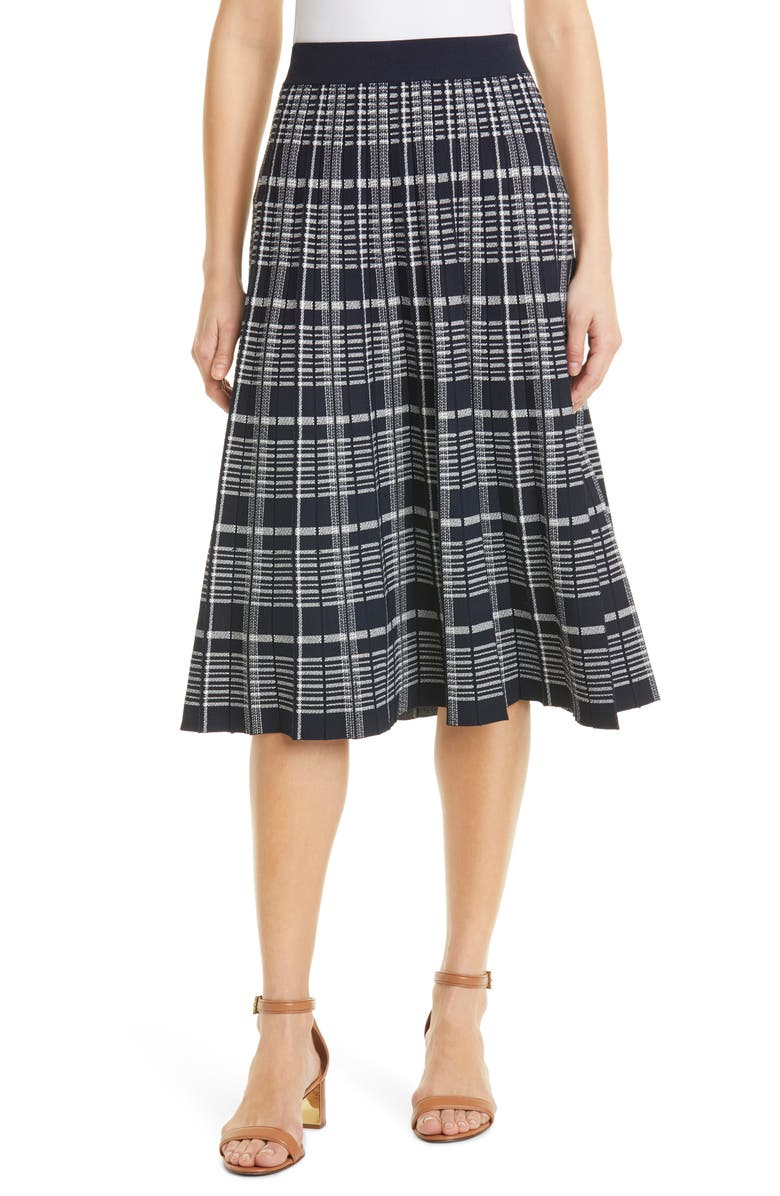 TORY BURCH Pleated Plaid Sweater Skirt, Main, color, TORY NAVY/ CLASSIC IVORY