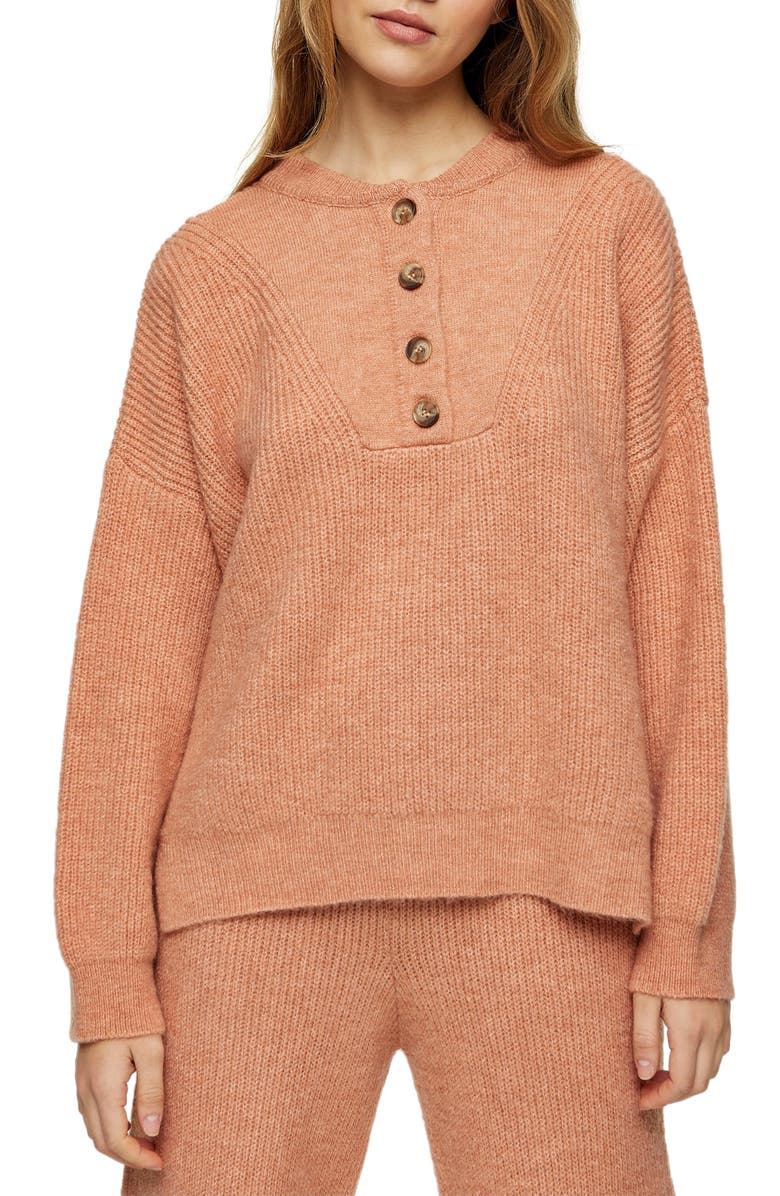 TOPSHOP Henley Sweater, Main, color, ROSE