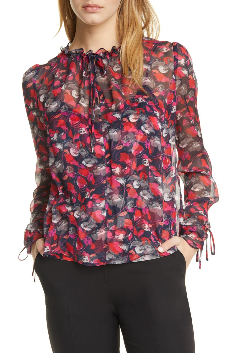 DVF Lilian Floral Silk Georgette Blouse, Main, color, 600
