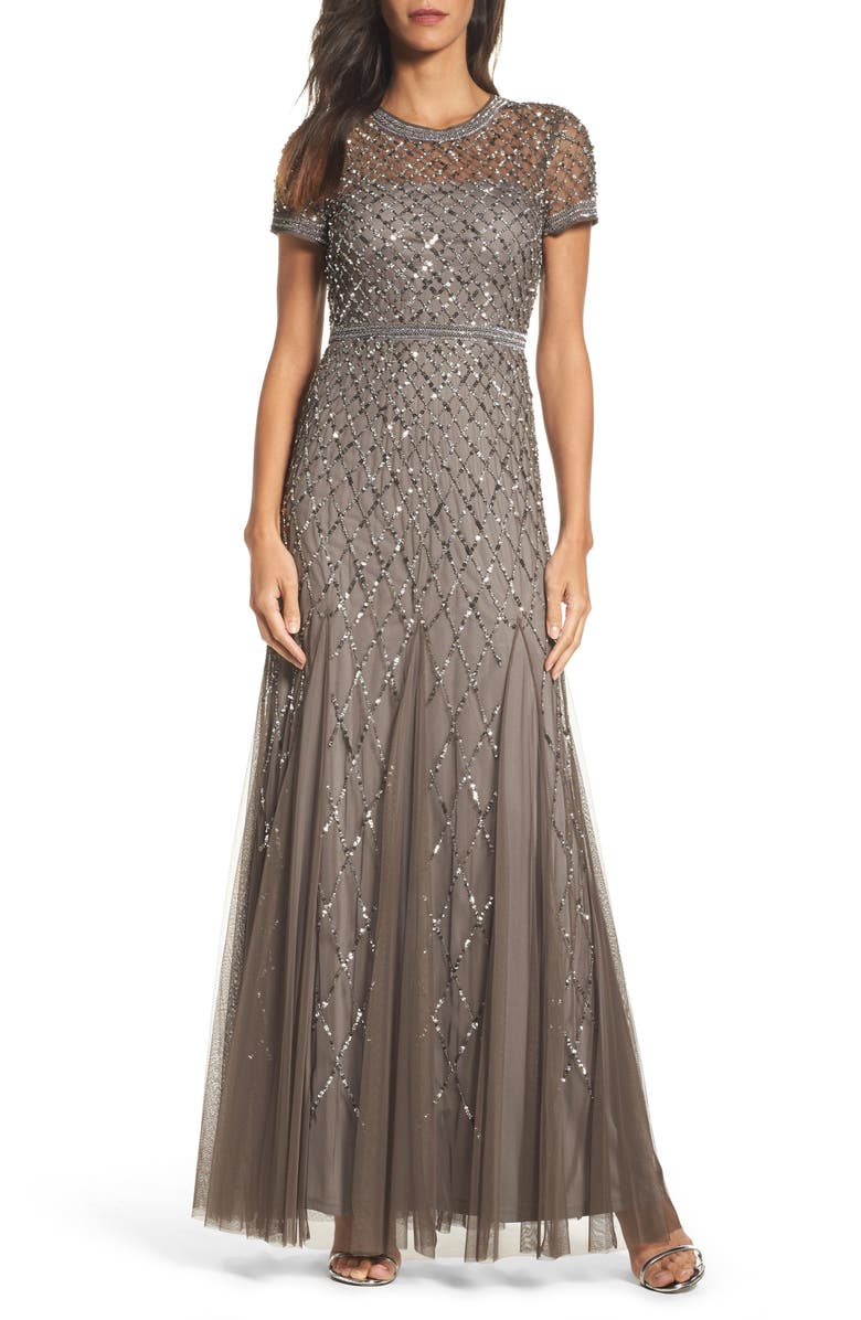 ADRIANNA PAPELL Beaded Mesh Gown, Main, color, LEAD