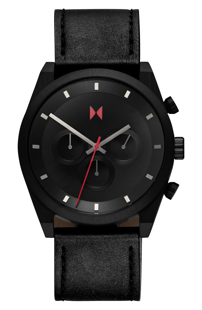 MVMT Element Chronograph Leather Strap Watch, 44mm, Main, color, BLACK