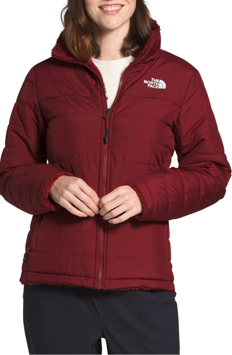 THE NORTH FACE Mossbud Insulated Water Repellent Reversible Jacket, Main, color, POMEGRANATE
