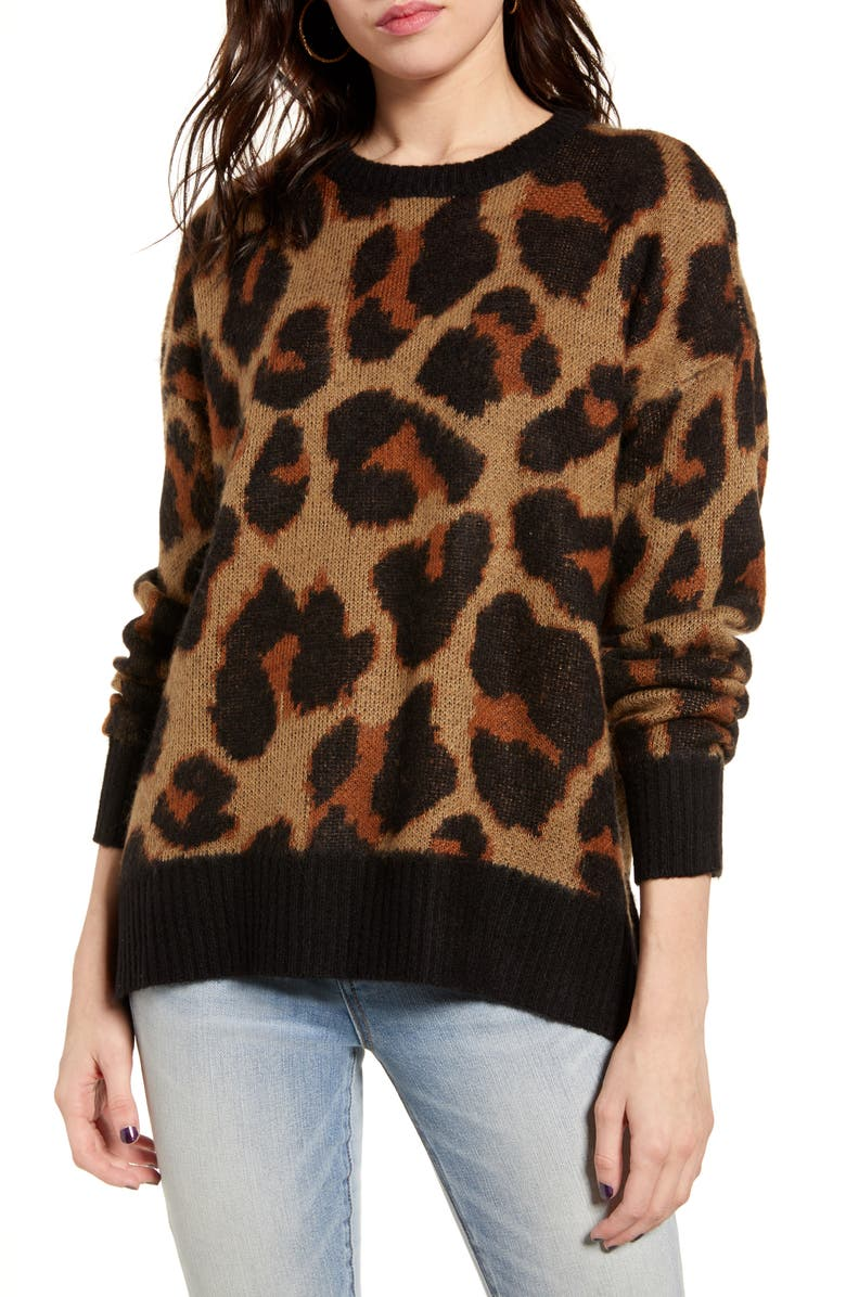 BAND OF GYPSIES Bronzer Leopard Jacquard Sweater, Main, color, 001