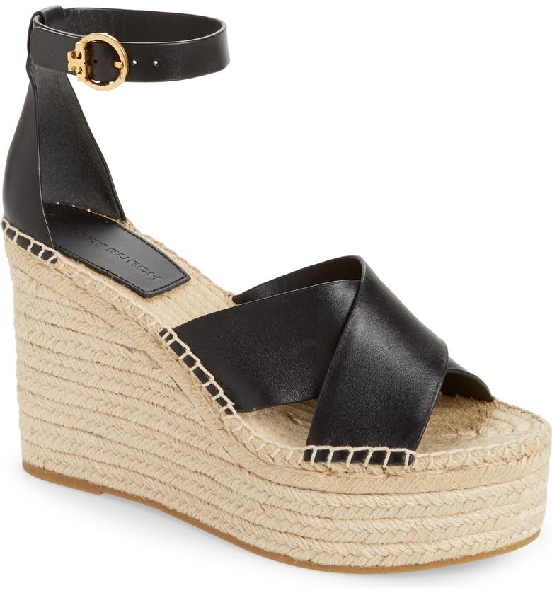 TORY BURCH Selby Espadrille Wedge Sandal, Main, color, PERFECT BLACK/ PERFECT BLACK