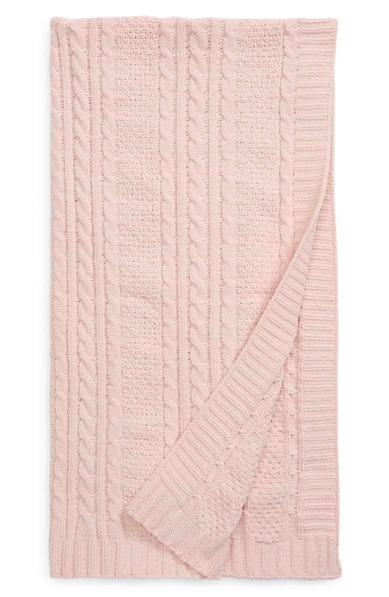 NORDSTROM Baby Cable Knit Blanket, Main, color, PINK LOTUS