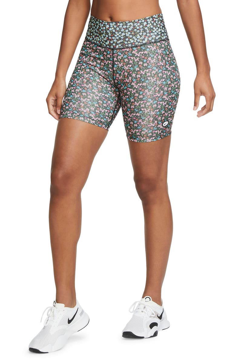 NIKE One Ditsy Floral Dri-FIT Bike Shorts, Main, color, 001