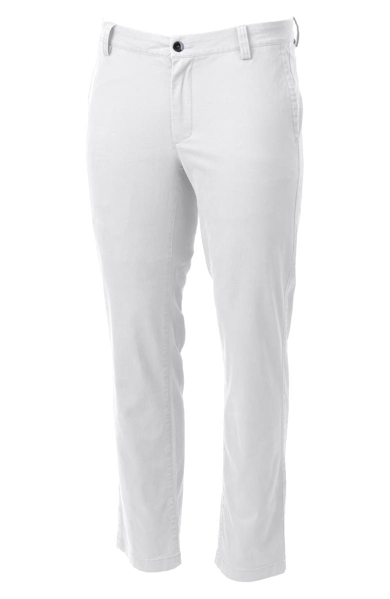 CUTTER & BUCK Voyager Classic Fit Stretch Cotton Chinos, Main, color, WHITE
