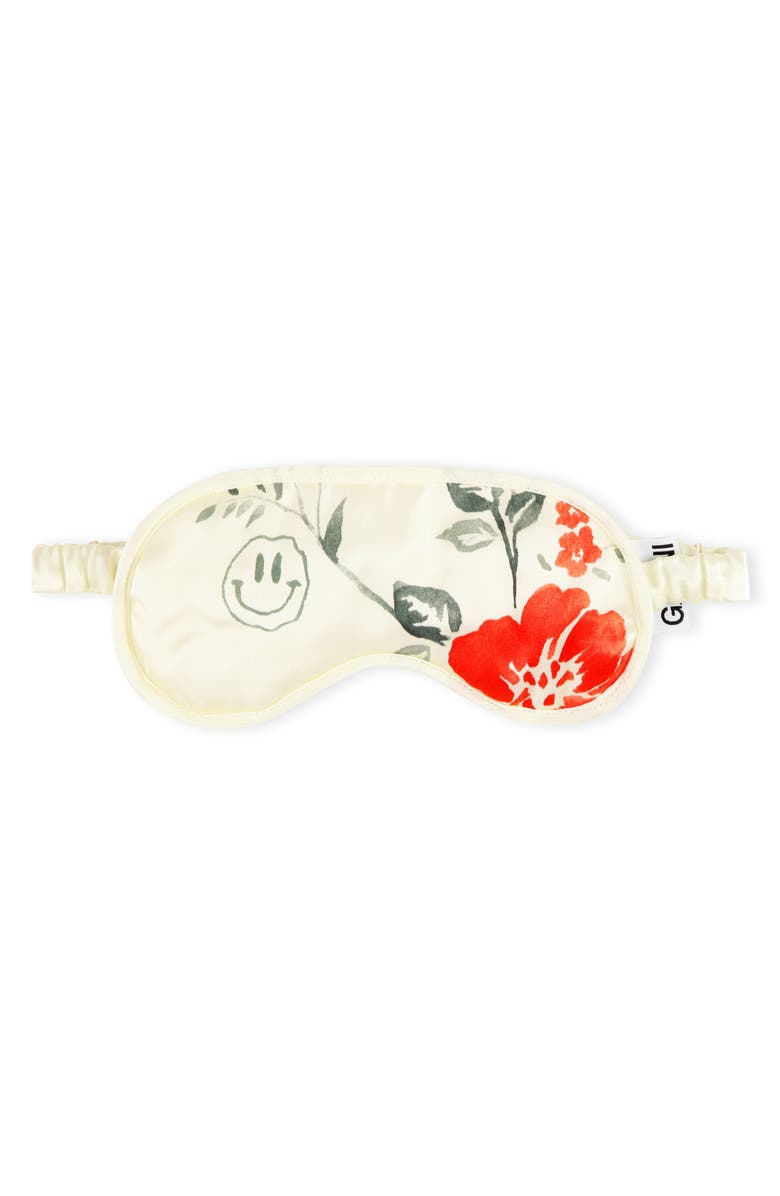 GANNI Print Heavy Satin Eye Mask, Main, color, EGRET