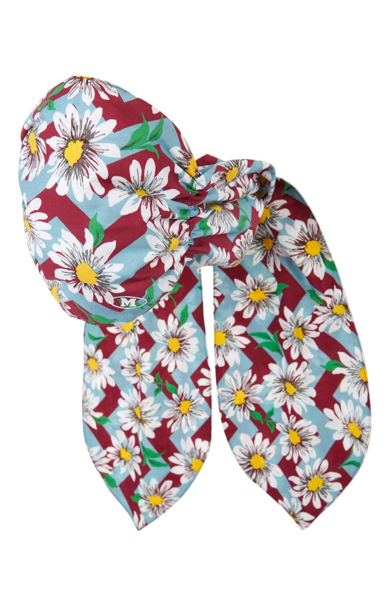 MISSONI Zigzag & Daisy Print Scarf Face Mask, Main, color, TURQ RED