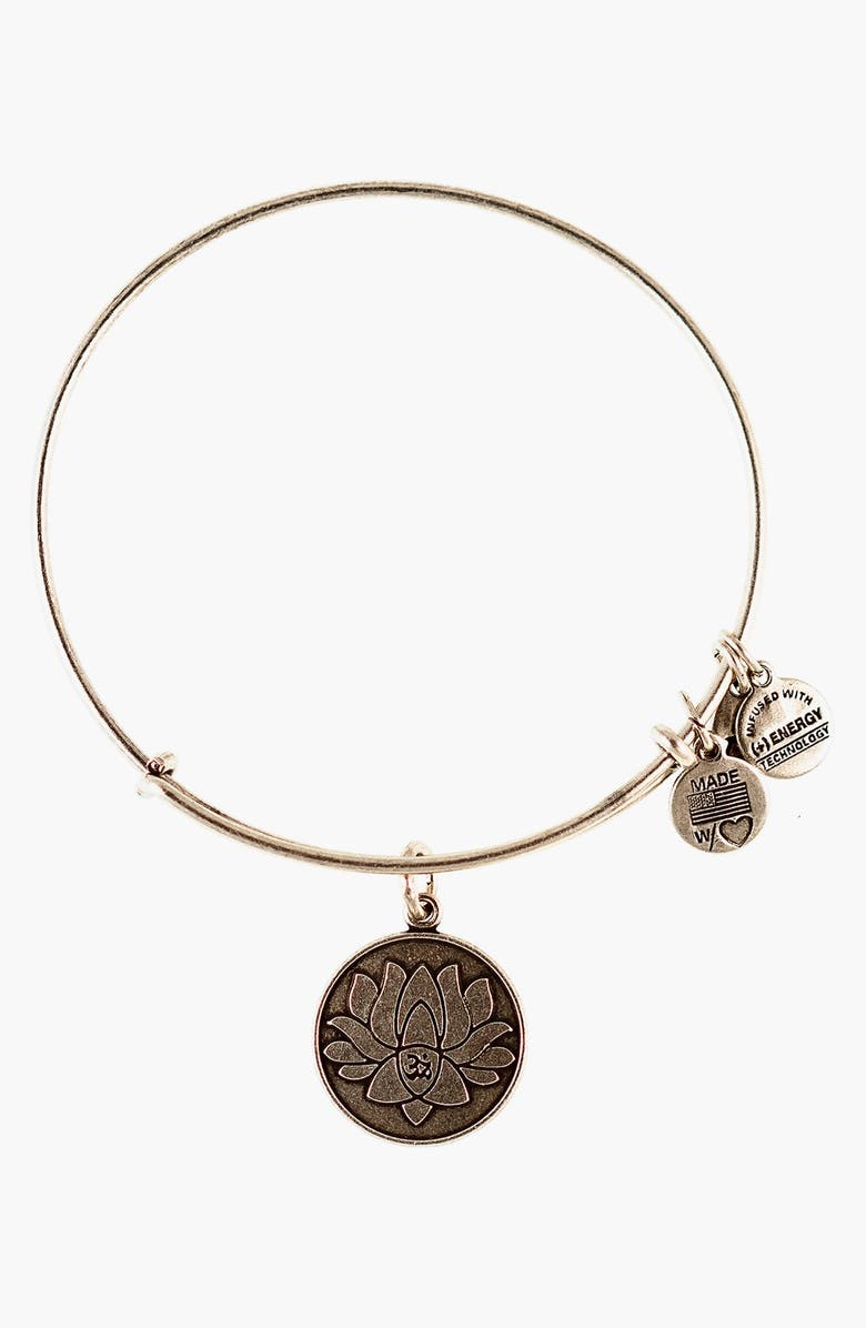 ALEX AND ANI 'Lotus Peace Petals' Expandable Wire Bangle, Main, color, 040