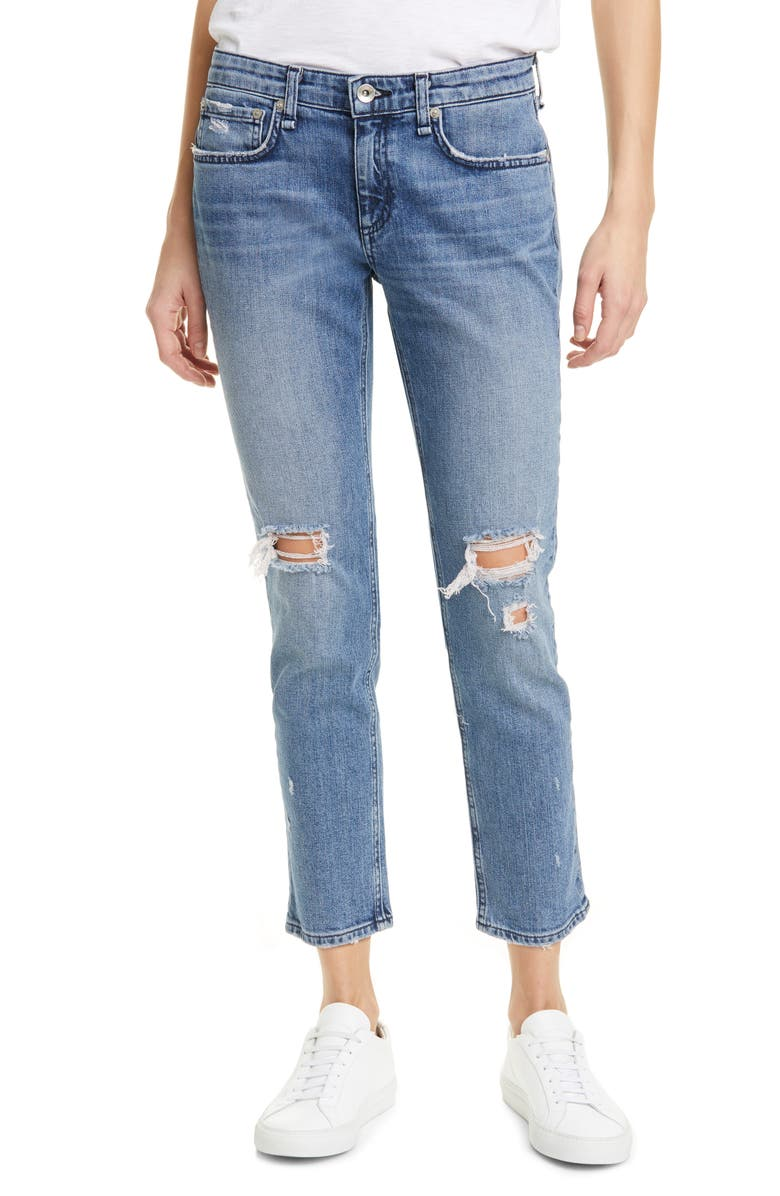 RAG & BONE Ripped Straight Leg Ankle Jeans, Main, color, 427
