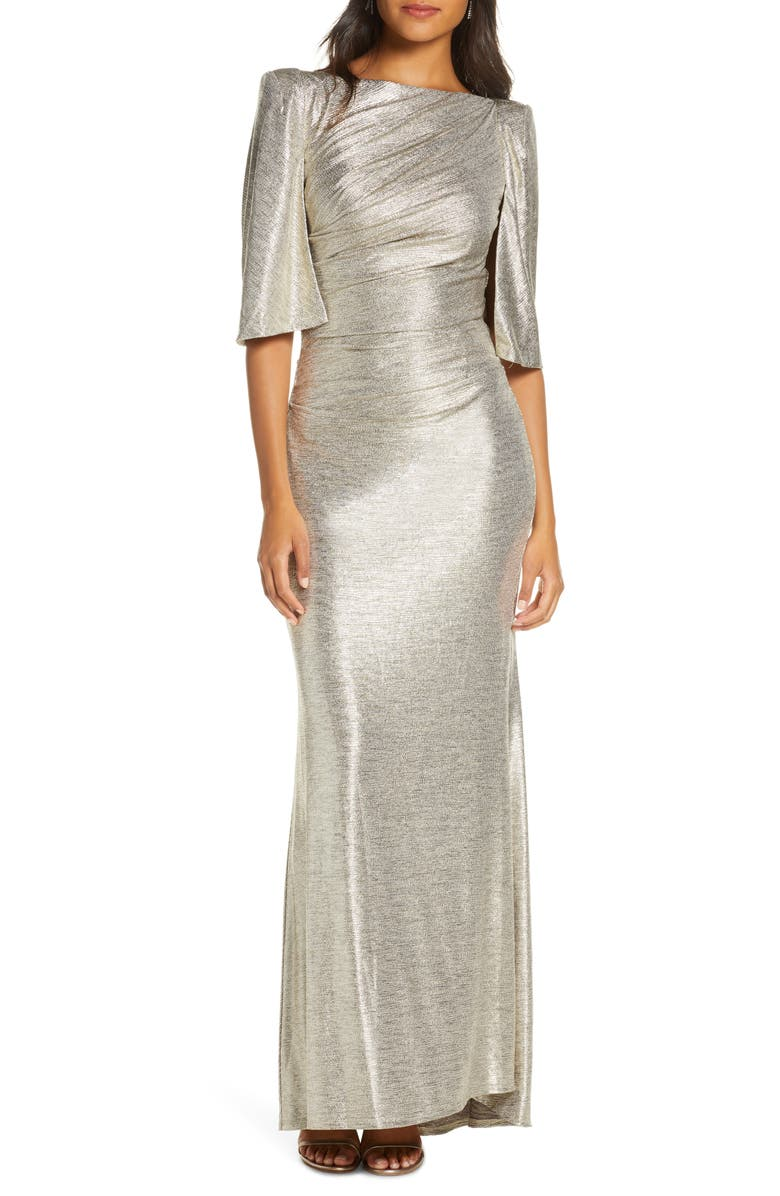 ELIZA J Capelet Sleeve Ruched Evening Gown, Main, color, 710