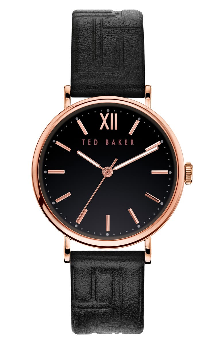 TED BAKER LONDON Men's Phylipa Leather Strap Watch, 37mm, Main, color, BLACK/ ROSE GOLD
