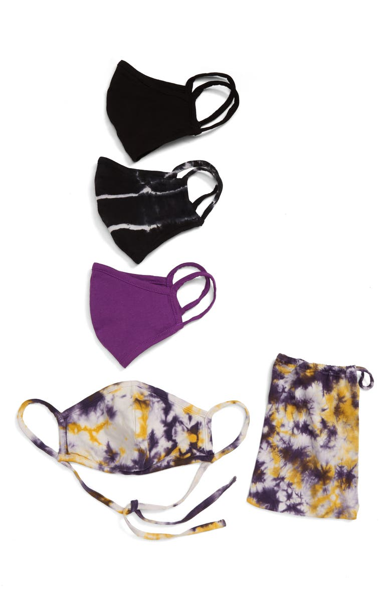 NORDSTROM Assorted 4-Pack Adult Face Masks, Main, color, PURPLE TIE DYE COMBO