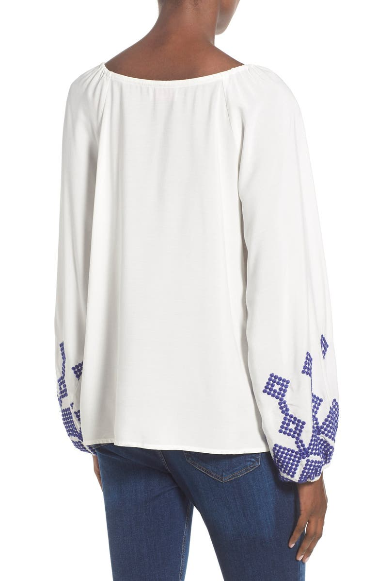 DEVLIN 'Irene' Embroidered Blouse, Main, color, White