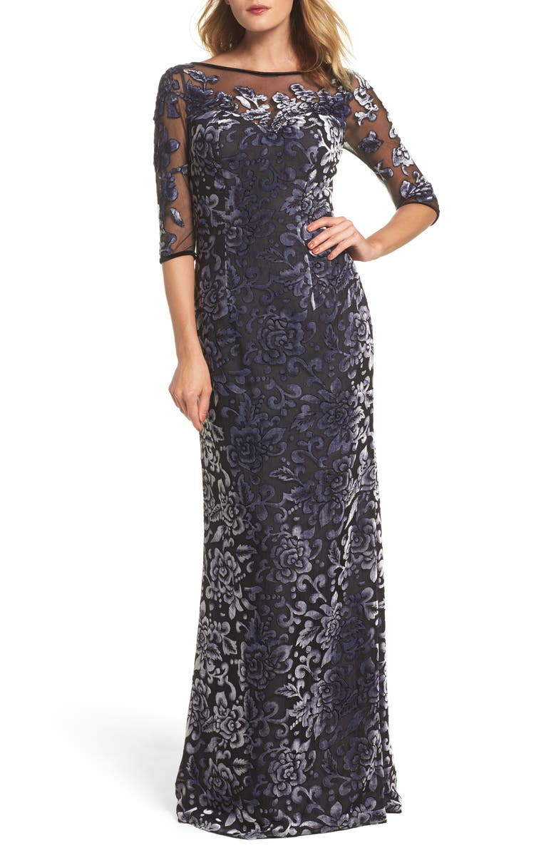 LA FEMME Burnout Velvet Column Gown, Main, color, GUNMETAL
